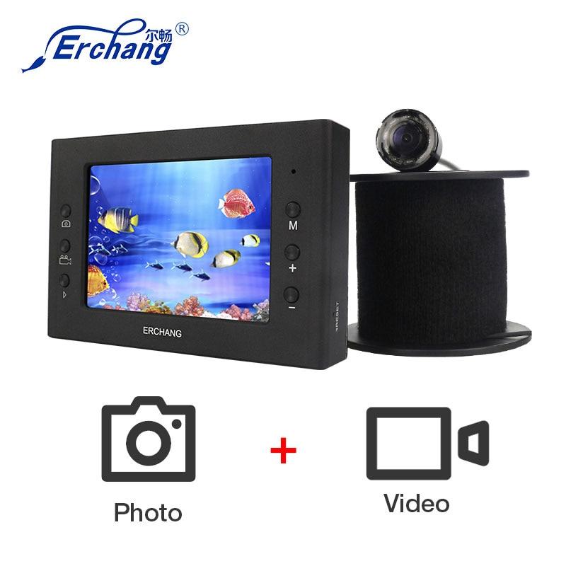 Erchang Fisch Finder 3,5 zoll Monitor kamera kit HD 1000TVL Unterwasser Video Ice Fishfinder Metall Angeln Kamera IR Nacht Vision