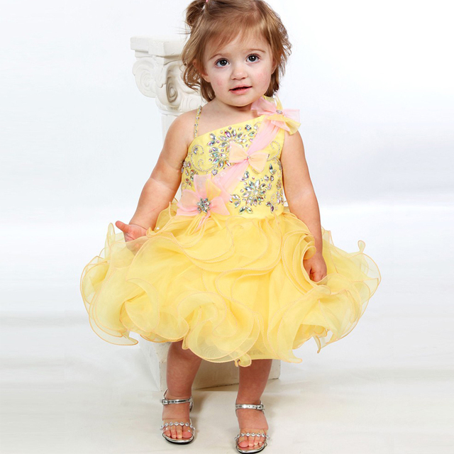 Yellow pageant dresses for babies
