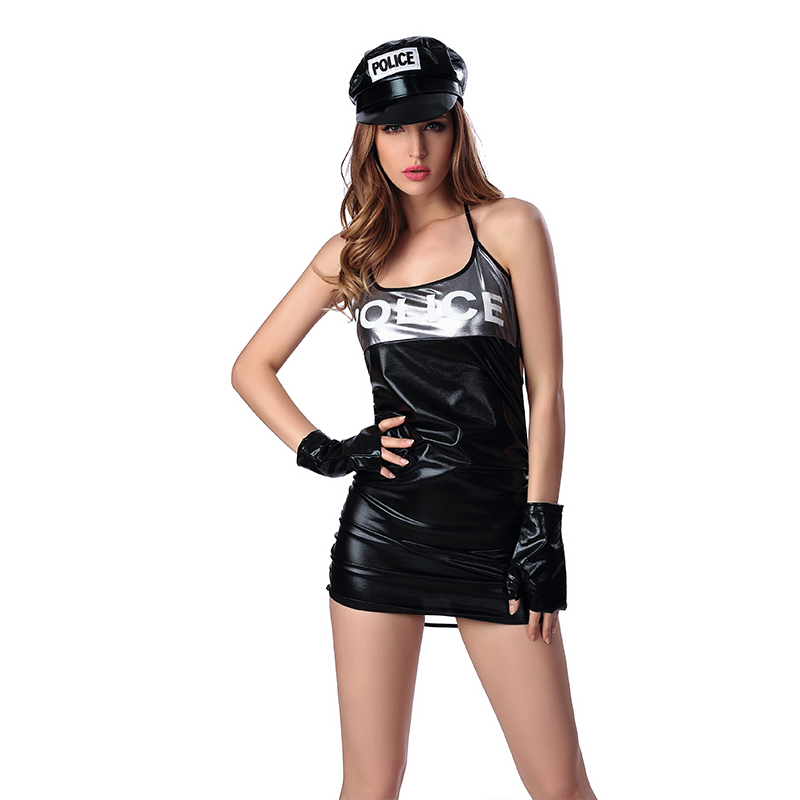 <font><b>Halloween</b></font> Costume <font><b>Sexy</b></font> tight Spandex Police Costume Traffic Cop <font><b>Dresses</b></font> <font><b>Sexy</b></font> Police Vacuum back Cosplay Uniform size XL,M image
