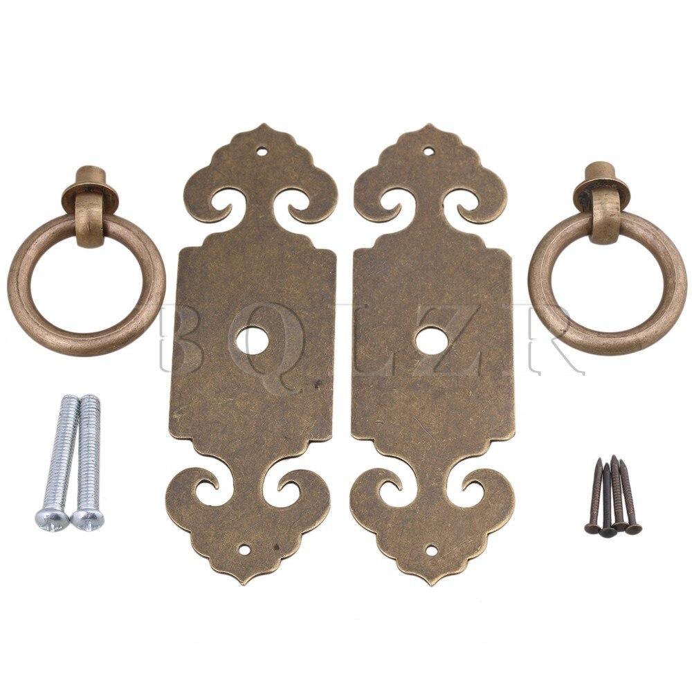 2PCS BQLZR Brass Face Plate Handle Knocker Pull Knob Cabinet Lock Latch W/Screws дрель электрическая