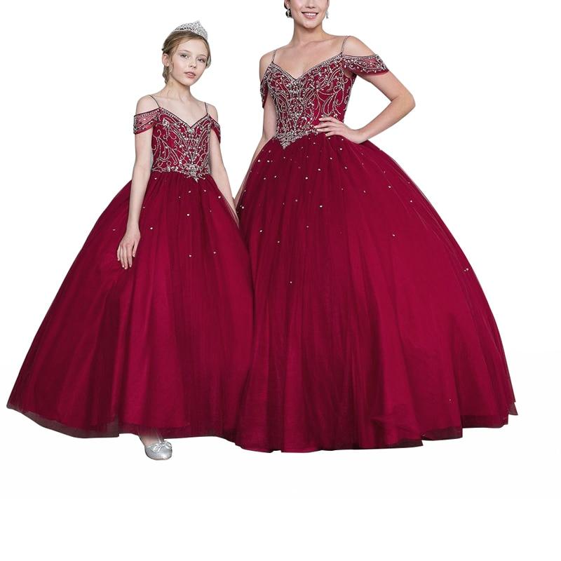New Princess Girls V-neck Open Back Ball Gowns Beading Tulle Flower Girls Quinceanera Dresses Elegant Formal Wedding Dresses