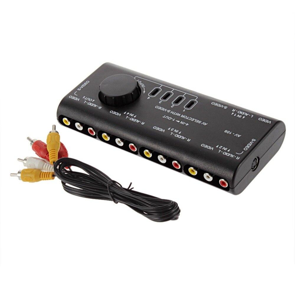 4 in 1 Out AV RCA Switch Box AV Audio Video Signal Switcher Splitter 4 Way Selector with RCA Cable For Television DVD VCD TV fjgear av distributor 1 to 8 way ports rca audio video av splitter switch switcher tv dvd monitor fj 801av