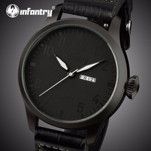 INFANTRY Mens Watches Top Brand Luxury Black Leather Militar