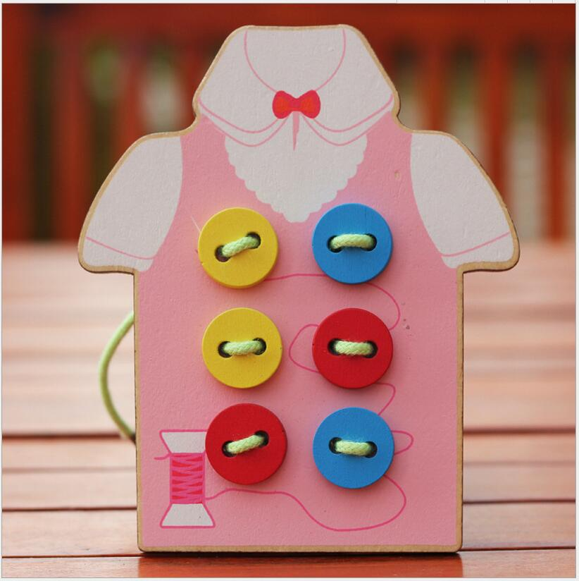Montessori Educational Kids Toys Beads Lacing Board Wooden Toys Toddler Sew On Buttons Early Education Teaching Aids Puzzles 010