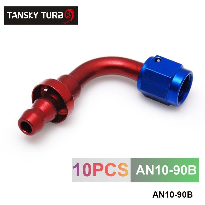Prix pour TANSKY-10 pcs/ensemble 90 Degrés Haute Performance AN-10 Raccords D'extrémité En Aluminium refroidisseur D'huile raccord de tuyau AN10-90B