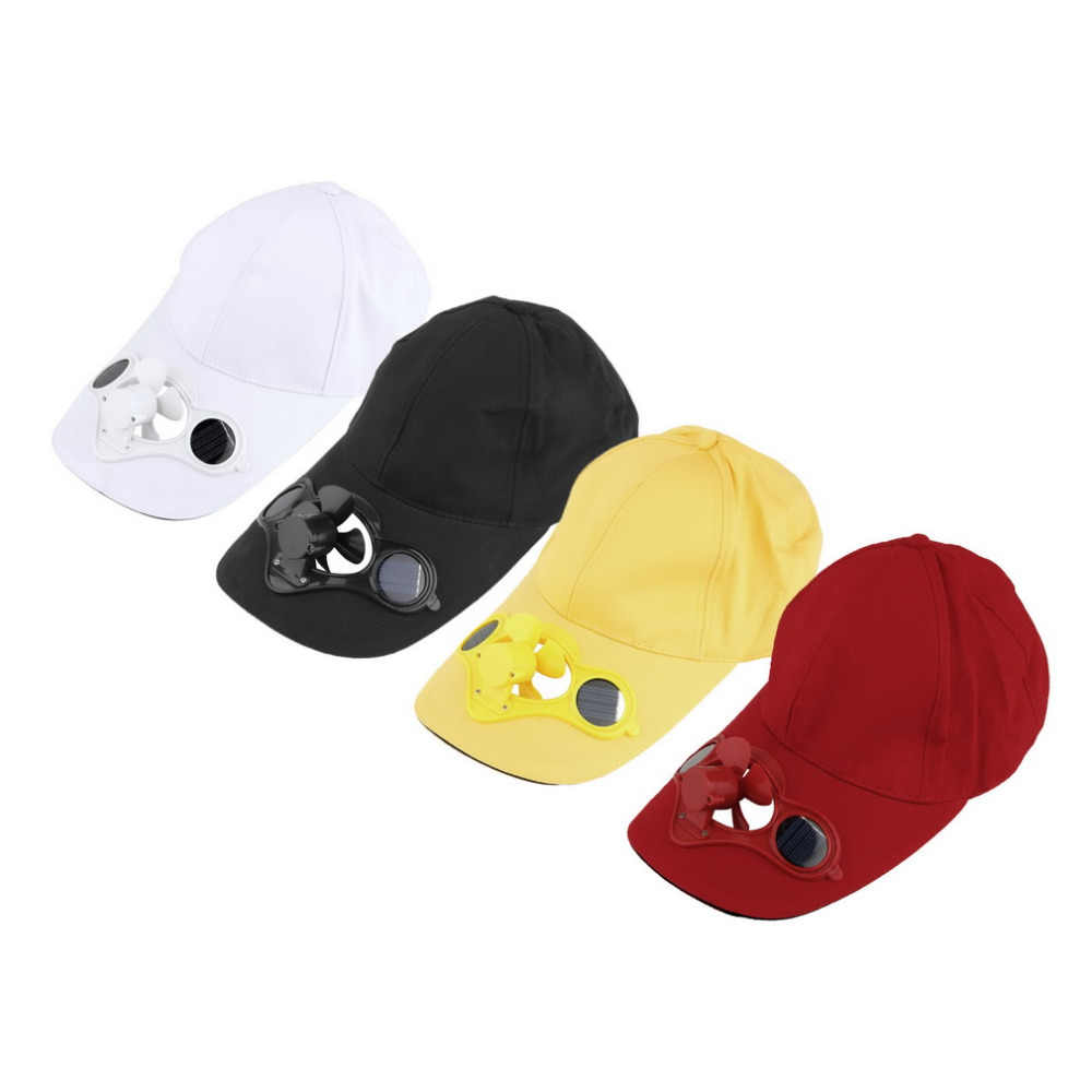 Summer Sport Outdoor Hat Cap with Solar Sun Power Cool Fan For Cycling four colors drop shipping