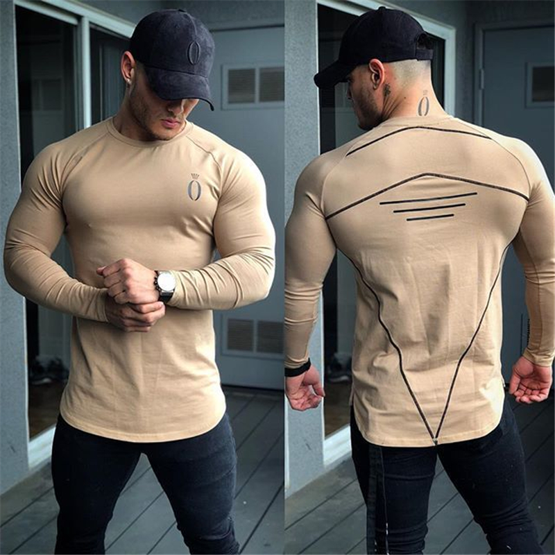 2019 Men's Fashion Sportswear Men's T-Shirt Men's Long Sleeve Fitness T-Shirt Men's Casual Jogger Gyms Workout T-Shirt