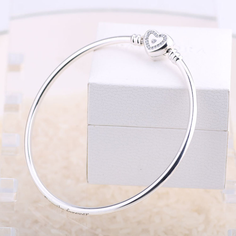 Authentic 925 Sterling Sliver Bangle Heart Crystal Clasp Clip Basic Bracelet Bangle With Logo Fit DIY Women Bead Charm