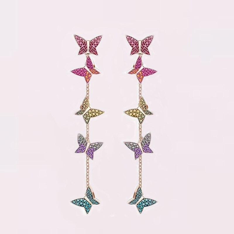 Queen Lotus High Quality Luxury S925 Vintage Colorful AAA Zircon Butterfly Women Earrings Jewelry Drop Earrings 1pc bohemian style colorful butterfly earrings