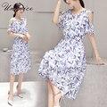 2017 Новый С Плеча Лето Dress Изящные Шифон Dress Дизайнер Партия Синий Dress женская Одежда Длинные Платья Мода