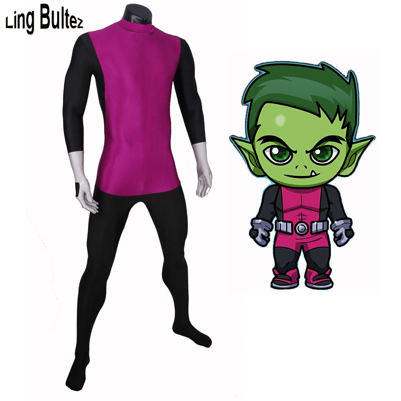 Ling Bultez Beastboy Costume Man Super Hero Beastboy Spandex Suit Custom Made Any Size Young Justice Cosplay Costume