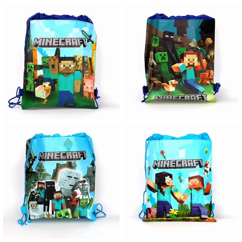 1pcs minecraft my world  Non-woven Bag Fabric Backpack Child Travel School Bag Decoration Mochila Drawstring Gift Bag