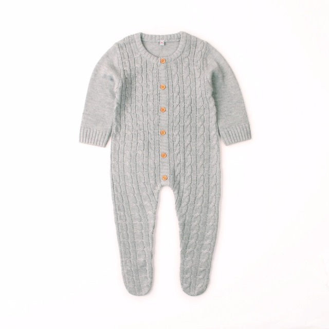 Newborn Infant Baby Girl Boys Rompers Spring Cable Knit Toddler One Piece Onesie Costumes Autumn Full Sleeved Baby Jumpsuit 0-2T