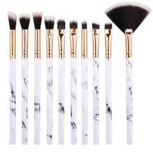 10 Pcs/Set Brand Marbling Makeup Brushes Professional Foundation Eyebrow Eyeliner Blush Cosmetic Concealer Beauty Tools