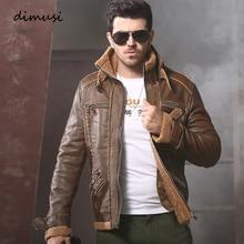 DIMUSI Winter Mens PU Leather Jacket Moto Fleece Thick Coats Male Retro
