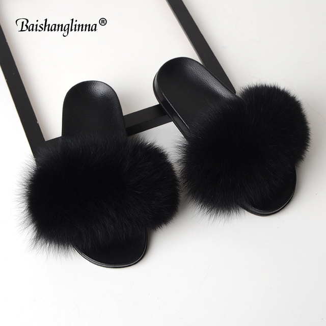 baishanglinna women fur slippers real fur slides female new summer