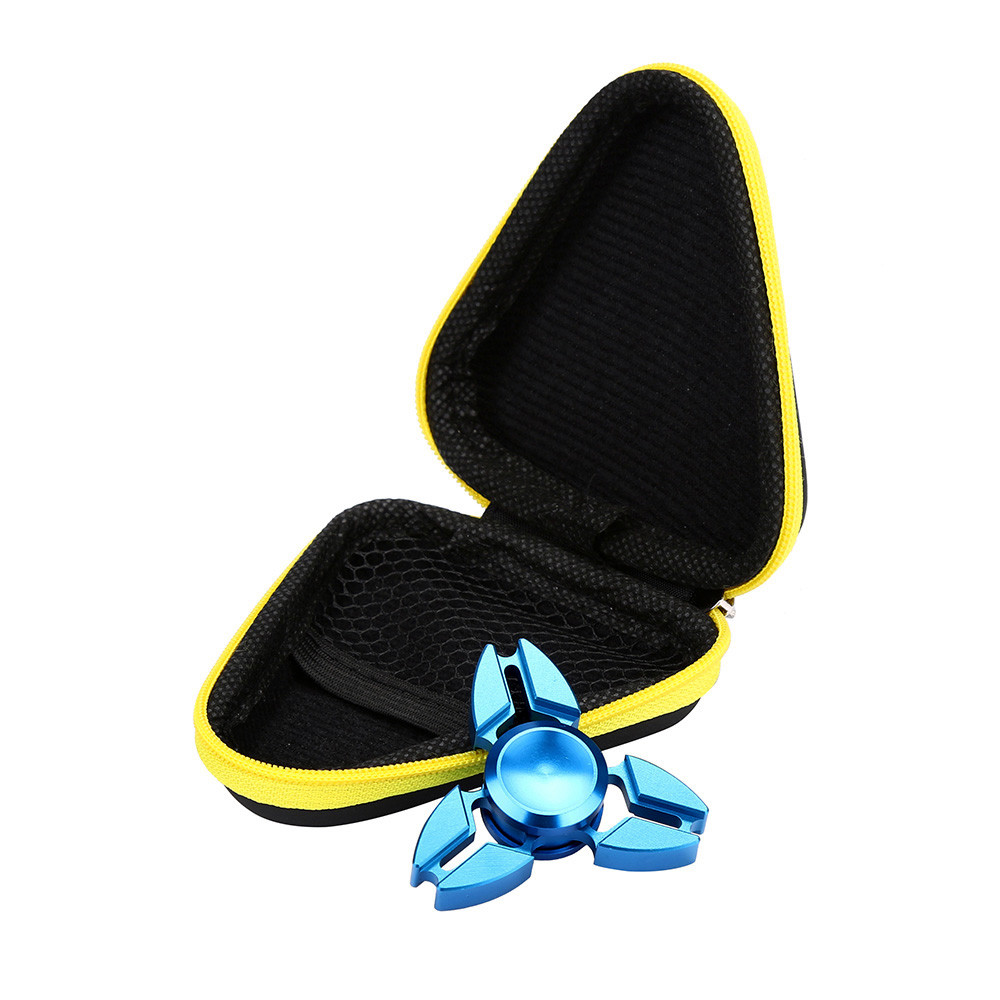 Leather hand spinner case Gift For Fidget Hand Spinner Triangle Finger Toy Focus ADHD Autism Bag Box Carry Case Packet 9*9*3.5cm