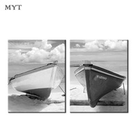 Handmade 2 pcs Modern wall art Black and white sailboat combination oil painting on canvas Pictures home Decor For Living Room