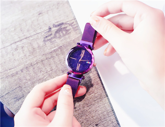 Charming Purple Women Watches Minimalism Casual Starry Sky Lady Wristwatch Magnet buckle Fashion Luxury Brand Female Watch Gift 5