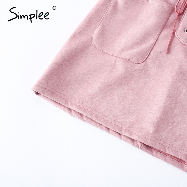 Simplee Lace up leather suede pencil skirt Women sexy bodycon high waist skirt Casual streetwear autumn winter pink short skirts
