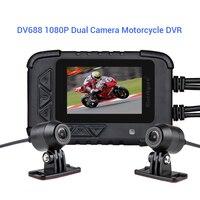 New DV688 Dual Camera Motorcycle DVR Dash Cam 1080P HD G sensor Driving Recorder With Front and Rear camara para moto motorbike
