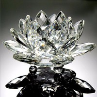 Artificial 120mm Clear Crystal Glass Lotus Feng shui Stone Home Wedding Decoration Party Figurines & Miniatures rare paperweigh