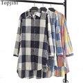 Topjini Hot Sale  New Arrival Women  Plaid Cotton Linen shirt Plus Size Loose Turn-Down Collar Top Long Sleeve Ladies Tops