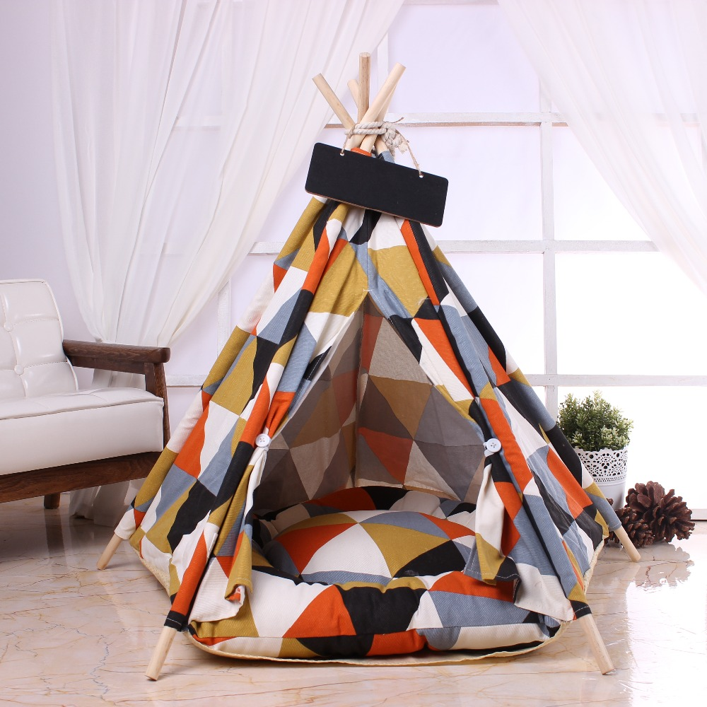 Pet outdoor tent cotton cloth solid wood bracket kennel thickening mat comfortable