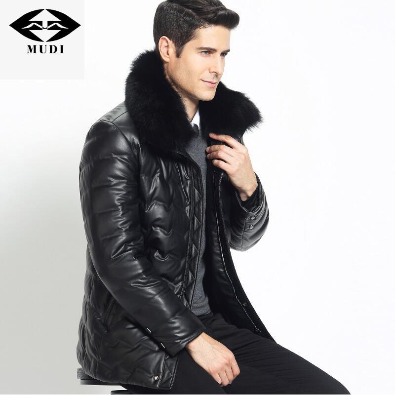 MUDI Mens Down Coat PU Winer Down Jacket 90% White Duck Parka Warm Winter Jacket With Big Fox Real Fur Windproof Jacket 5XL 6XL