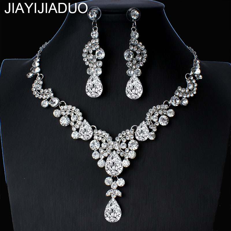 jiayijiaduo 2019 Elegant Floral Bridal Jewelry Sets for Women Clear Crystal Engagement Necklace Earrings Sets Wedding Jewelry