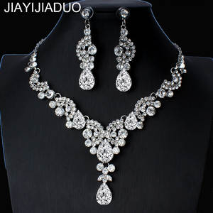 Bridal-Jewelry-Sets Earrings-Sets Necklace Crystal Floral Jiayijiaduo Elegant Women Engagement