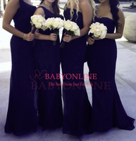 2014 New Arrival One Shoulder Country Style Dark Navy Blue Bridesmaid Dresses Long Formal Dresses BO5624