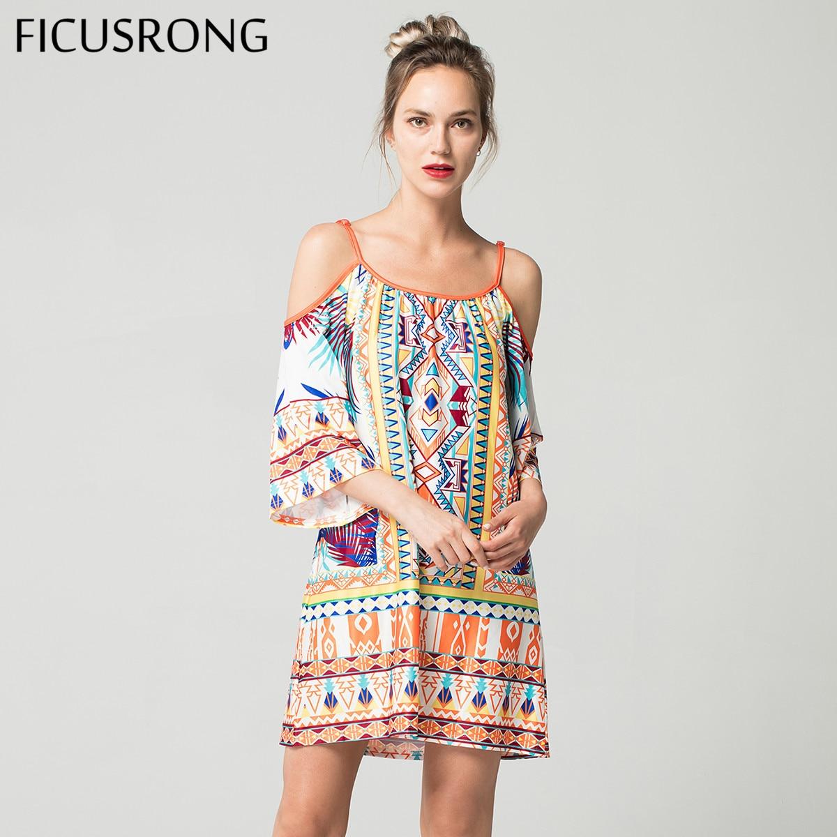 2019 New Boho Style Sling Summer Beach Dress Milk Silk Print Dress Loose Vintage Sexy Evening Women Strap Dress FICUSRONG silk