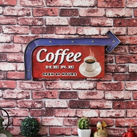 COFFEE HERE OPEN 24 HOURS Large LED Lights Tin Sign Vintage Iron Painting Cafe Bar Decor Retro Mural Poster Metal Wall Sticker