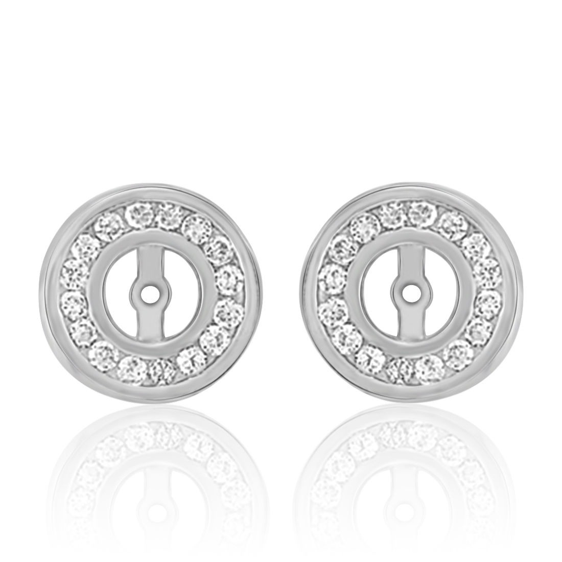 EARRING JACKETS Solid Sterling Silver Gemstone Enhancer Small Hoops,Diamond Stud Ear Jackets,Solid Silver Smooth Half Round JH24DHR2.5WSS