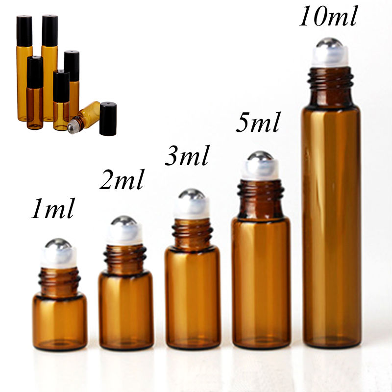 50pcs/lot 1ml 2ml 3ml 5ml 10m Amber Perfume Glass Roll on Bottle with Glass/Metal Ball Brown Roller Essential Oil Vials 5pcs lot 2ml small brown empty wishing glass bottle drifting bottle message vial with cork stopper vials jars containers