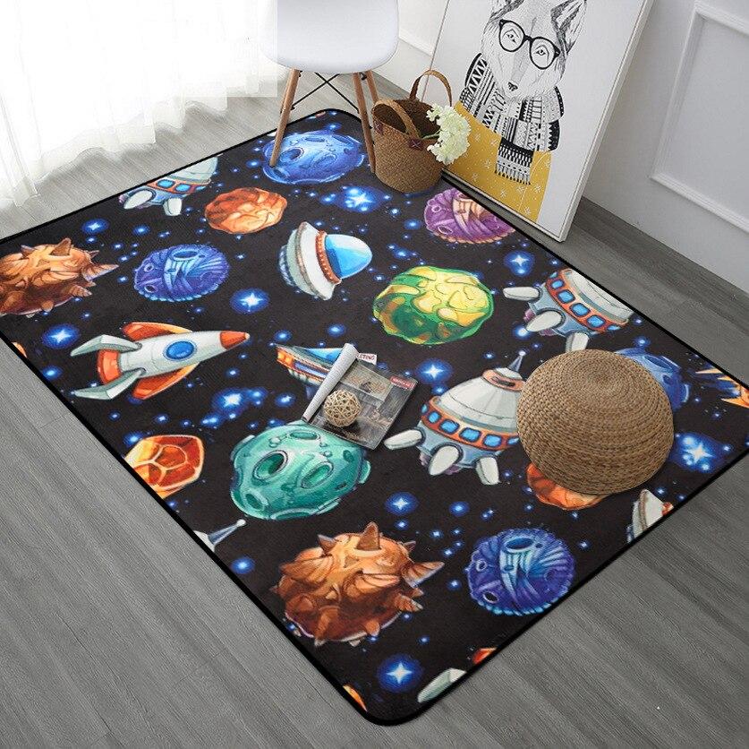 Starship Rocket bleu marine noir tapis pour enfants chambre Anti Slip tapis de sol couloir Pad tapis enfants tapis d'apprentissage bébé tapis de jeu
