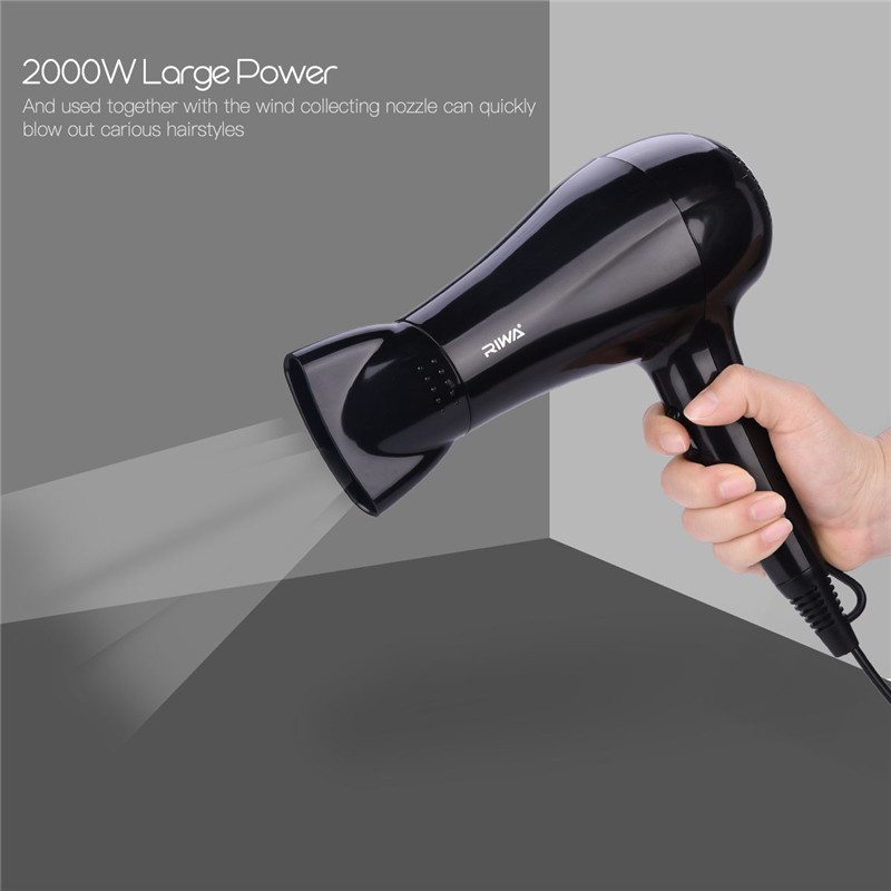 2000W Salon Professional Hair Dryer Blow With Wind Collecting Nozzle Fast Drying Blower Hairdryer 2 Speed Control 3Heat Settings giftforall hair dryer hotel bathroom home professional hair salon powerful wall mounted portable mini hairdryer d139 d
