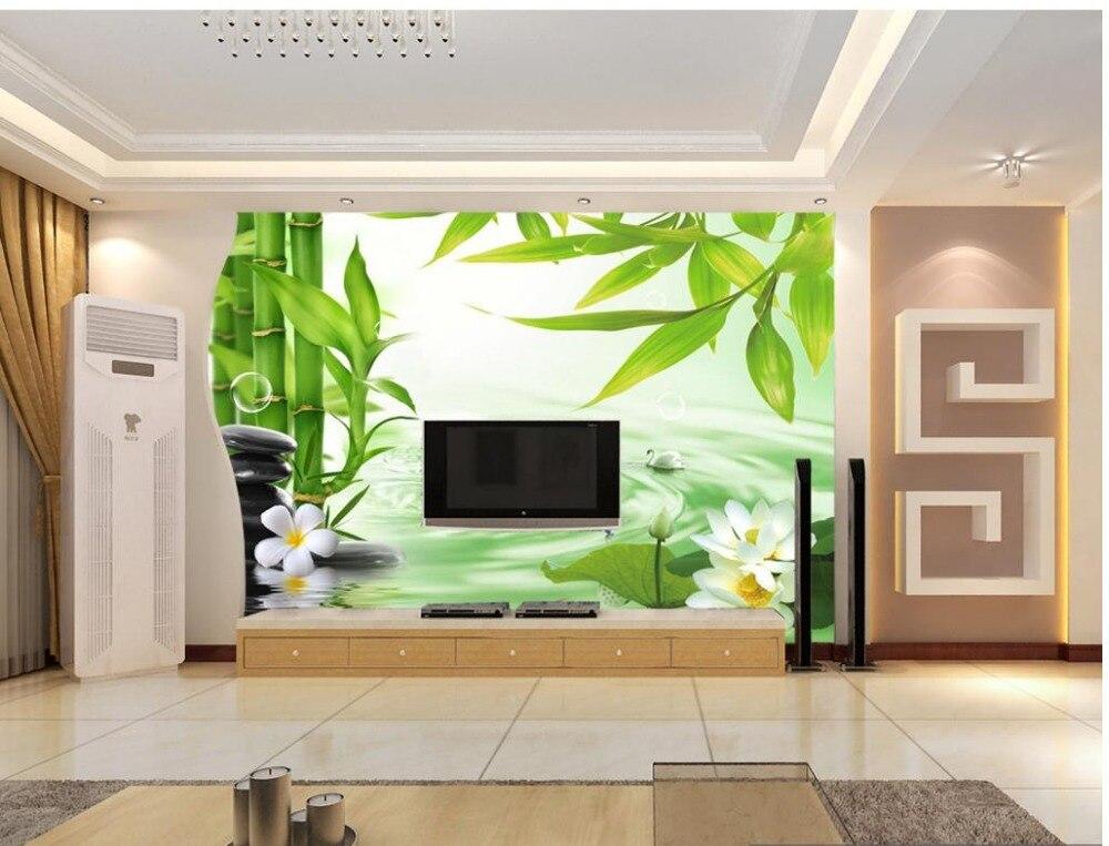 paysage peintures murales de papier peint bambou lotus ondulations de l 39 eau personnalis 3d. Black Bedroom Furniture Sets. Home Design Ideas