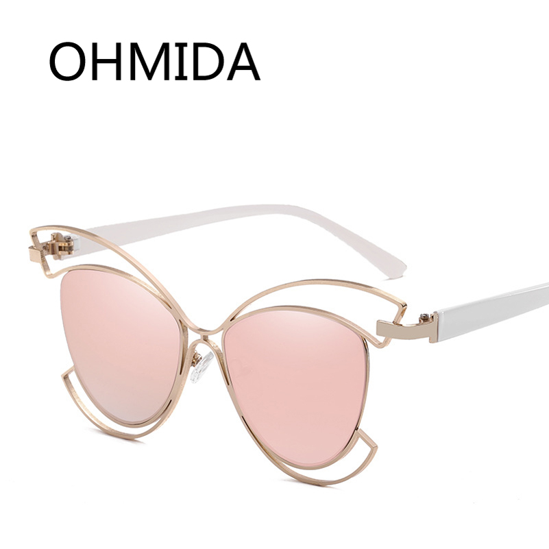 3e8c0ab560da0 OHMIDA Fashion Cat Eye Sunglasses Women Hollow Out Vintage Glasses Frame  Clear Mirrored Brands Sun Glasses For Men Shades UV400-in Sunglasses from  Apparel ...