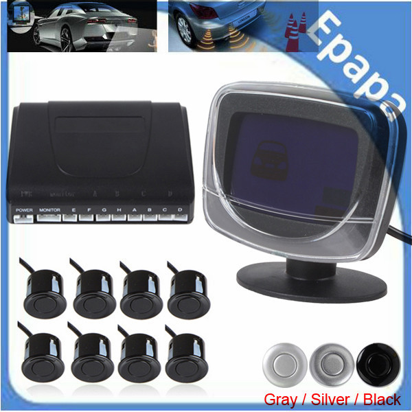LCD Display Monitor Car Rear View Parking System Kit With 8 Sensors For Front And Rear Viewing Backup Reverse