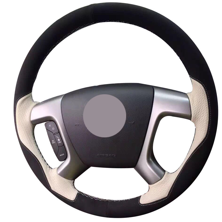Black Suede Beige Leather Steering Wheel Cover for Chevrolet Captiva 2007 2014 Silverado GMC Sierra 2007