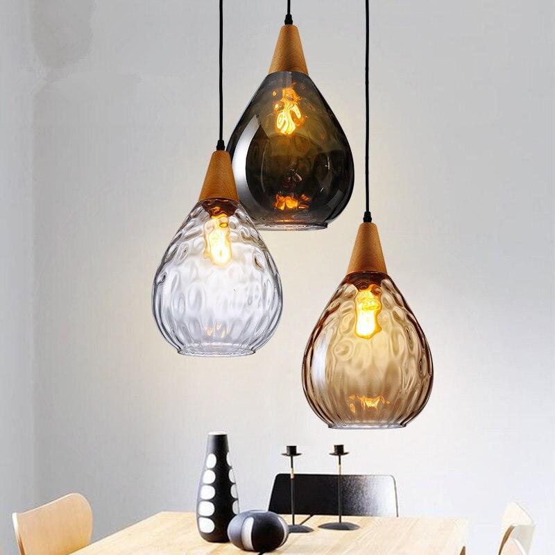 Moderní závěsné světlo skleněné dřevo přívěsek lampa - Vnitřní osvětlení