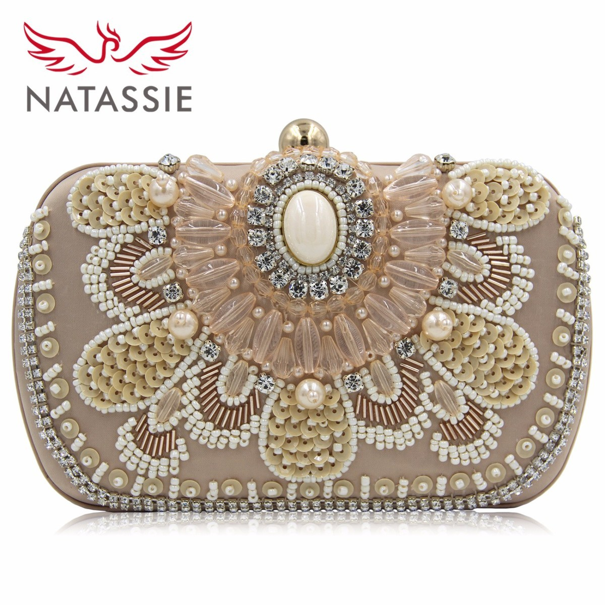 NATASSIE Brand 2017 New Women Pearl Evening Bags Wholesale Designer White  Wedding Party Beaded Box Clutch
