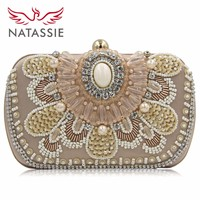 Natassie Brand 2016 New Women Pearl Evening Bags Wholesale Designer White Wedding Party Beaded Box Clutch