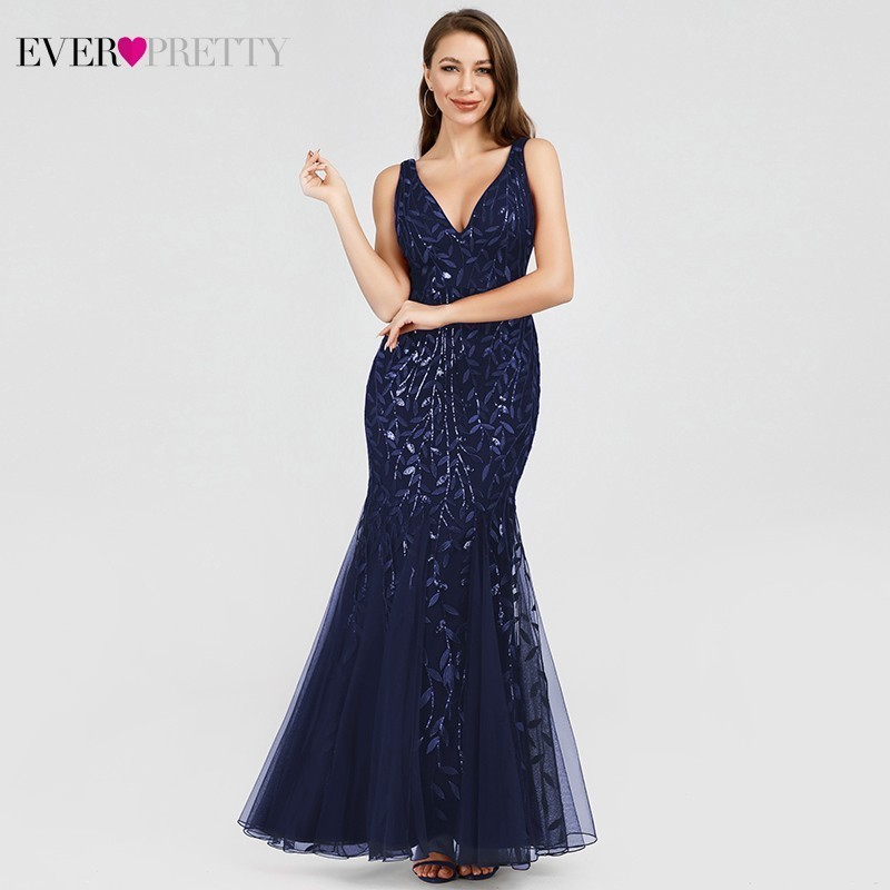 Sexy Sequined Mermaid Prom Dresses Long Ever Pretty V Neck Sleeveless Elegant Women Formal Party Dresses