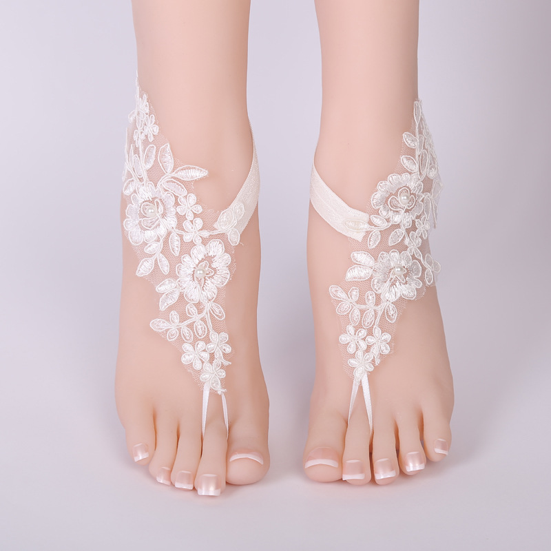 0461cf01f85c Sexy women Wedding lace anklet Foot Chain Barefoot Sandals Beach Anklet  Embroidery Flower Bride accessory Foot jewelry