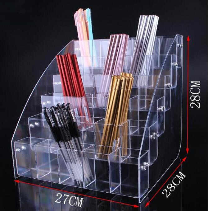 Fashion acrylic Cosmetic Brush Eyeshadow Pencil Pen Lipstick Display Stand Rack Support Organizer Holder For Desk Office Supplie