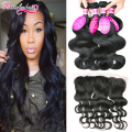 Brazilian Body Wave With Closure 4 Bundles Body Wave With Frontal Closure Ear To Ear Lace Frontal Closure With Bundles Wavy Hair