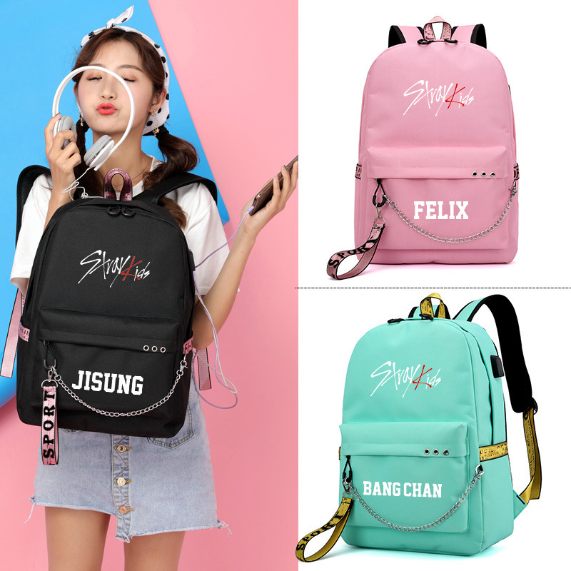 Korean Band Stray Kids CHANGBIN SEUNGMIN Women Backpack Canvas School Bags For Teenage Girls Women Pink Bags Laptop Backpack